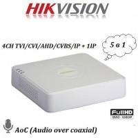 4 канален видеорекордер 2MP DVR + 1IP DS-7104HQHI-K1(S) с аудио по коаксиал AoC