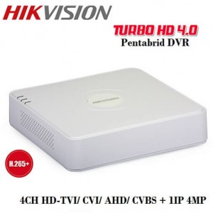 4 канален видеорекордер 2MP DVR + 2IP DS-7104HQHI-K1