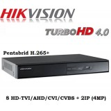 8 канален DVR пентабриден DS-7208HQHI-K1/A + 2IP