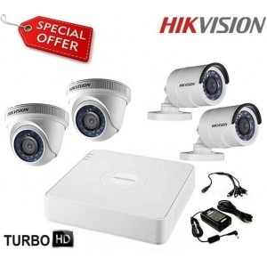 Готов комплект HD-TVI с 4 камери HIKVISION 4CH-OUT/IN