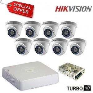 Комплект за видеонаблюдение HD-TVI с 8 куполни камери HIKVISION 8CH-IN