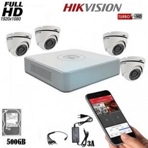 Комплект за видеонаблюдение HIKVISION с 4 охранителни камери 2MP