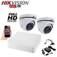 Система за видеонаблюдение Full HD 2 куполни камери HIKVISION