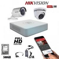 Комплект с 2 камери за видеонаблиюдение HIKVISION 2MP